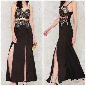 Tea & Cup Black Eyelash Lace High Slit Maxi Dress